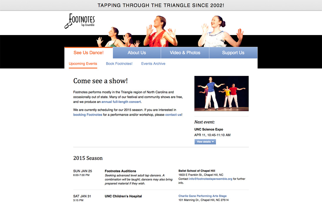 Footnotes Upcoming Events Page